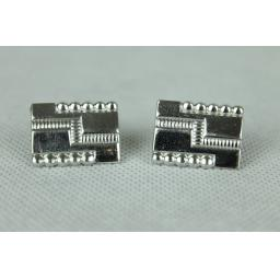Vintage Chunky Silver Metal Oblong Cufflinks
