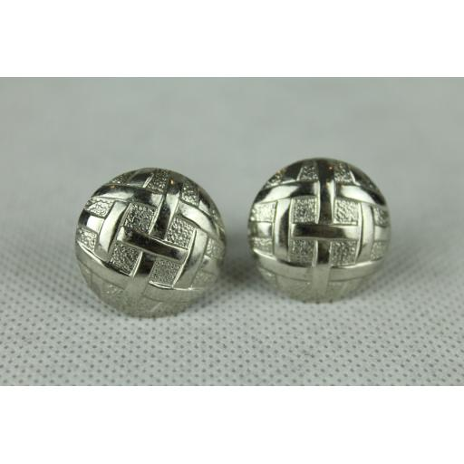 Vintage Silver Basket Weave Large Button Style Cuff Links