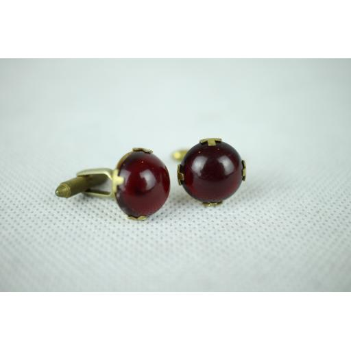 Vintage Ruby Red Cabochon Gold Metal Mount Cuff Links