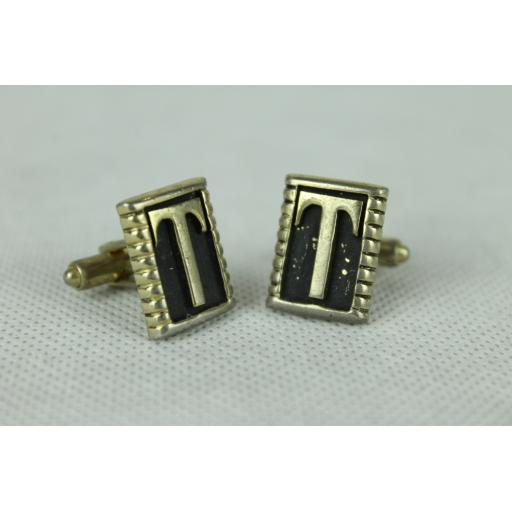 Vintage Initial T Gold & Black Oblong Cuff Links