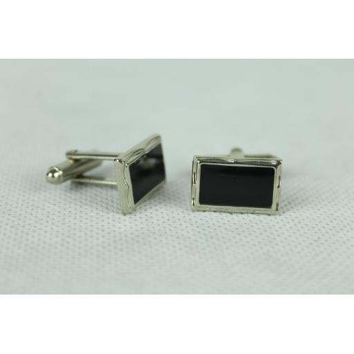 Vintage Silver Oblong Black Inset Cuff Links