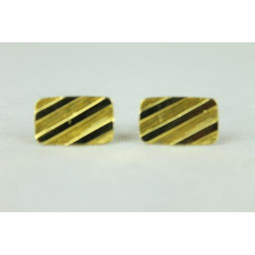 Vintage Gold Oblong Diagonal Stripe Cuff Links