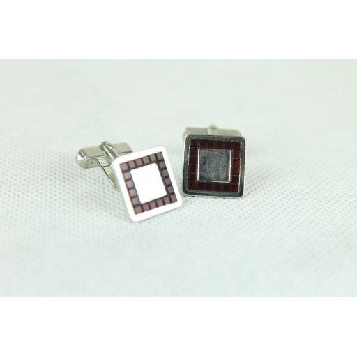 Vintage Swank Silver & Red Inset Cuff Links