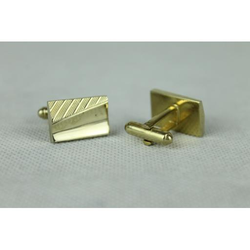 Vintage Gold Oblong Diagonal Stripe & Polished Cuff Links