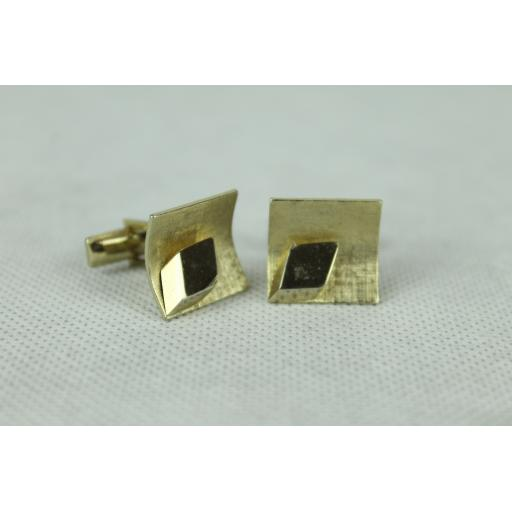 Vintage Curved Gold Square Cuff Links