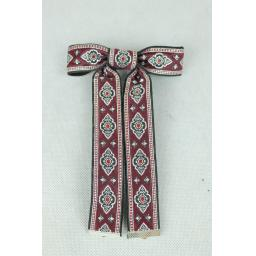 Vintage Style New Burgundy Silver Clip On Western/Cowboy/Kentucky Bow Tie