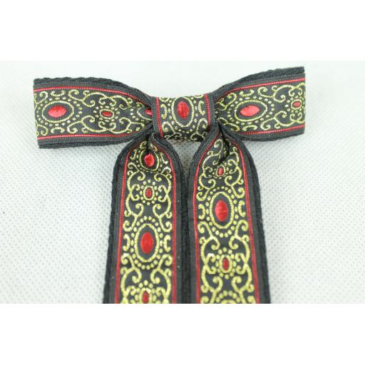 Vintage Style New Red Gold Black Clip On Western/Cowboy/Kentucky Bow Tie