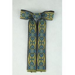 Vintage Style New Blue & Bronze Clip On Western/Cowboy/Kentucky Bow Tie