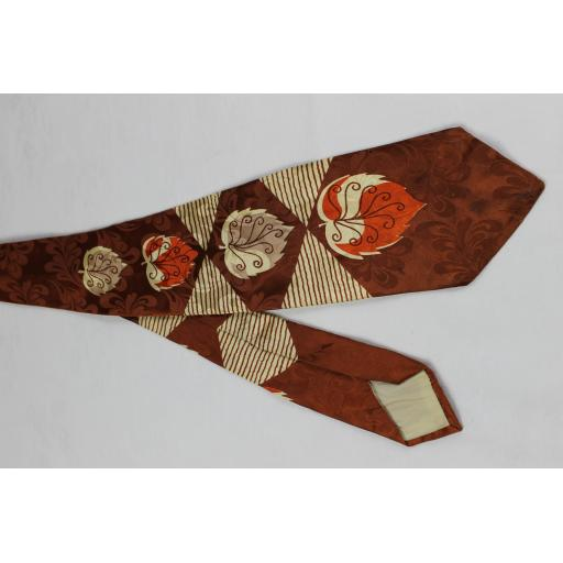 Vintage Haband Jacquard Autumn Leaves Swing Tie 1940s / 50s