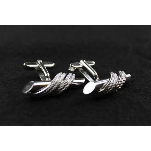 Vintage Silver Metal Rope Wrap Cufflinks