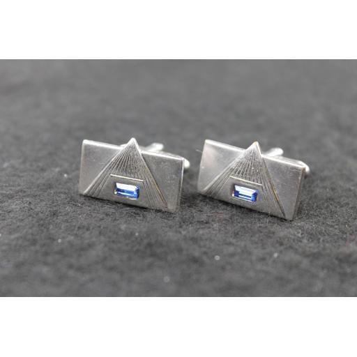Vintage Speidel Oblong Blue Inset Diamante Cufflinks
