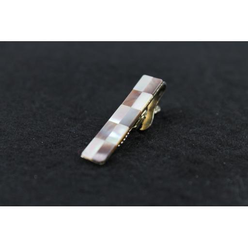 Vintage Marhill Mother of Pearl Checkerboard Tie Clip