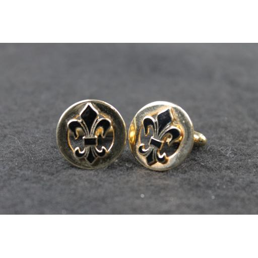 Vintage Fleur de Lys Cufflinks Gold Metal and Enamel