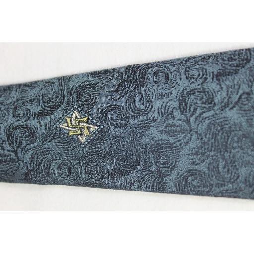 Vintage Regale Jacquard Blue Grey Skinny Tie 1960s