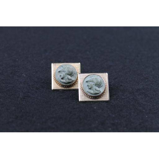 Vintage Square Spartan Head Cufflinks