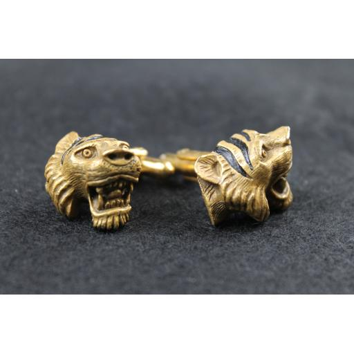 Vintage Roaring Tiger's Head Cuff Links