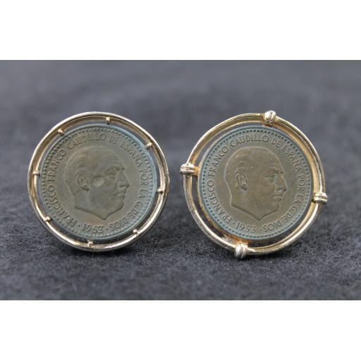Vintage Coin Cufflinks with 1963 1 Peseta Franco Coins