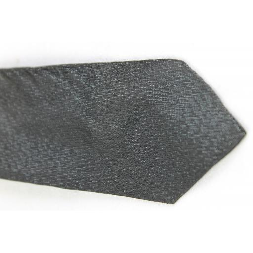 Vintage Black Grey Sharkskin Clip On Skinny Tie