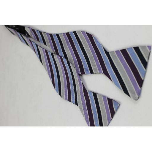 Multi Coloured Striped Silk Self Tie Thistle Bow Tie