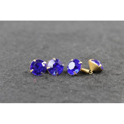 Vintage Blue Glass Faceted Gem Link Cufflinks