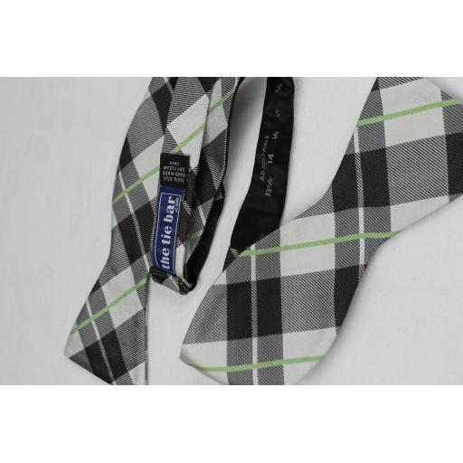 Tie Bar Grey White Lime Plaid Silk Self Tie Straight End Bow Tie