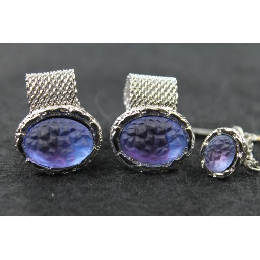 Vintage Silver Metal Large Blue Stone Wrap Round Cufflinks & Tie Pin