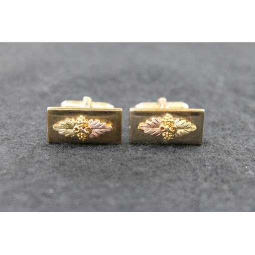 Vintage Anson Black Hills Gold Leaf Cufflinks