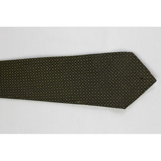 Vintage Unbranded Olive & Black Spotted Skinny Tie 1960s