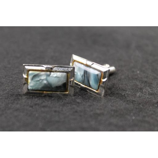 Vintage Oblong Blue Grey Marbled Lucite Cufflinks