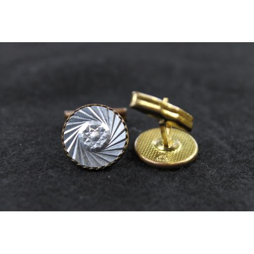 Vintage Round Spiral Cut Facet Centre Silver Face Cufflinks