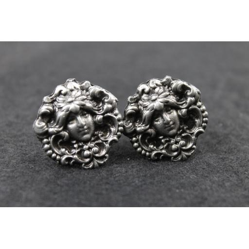 Vintage Pewter Colour Green Man Cufflinks