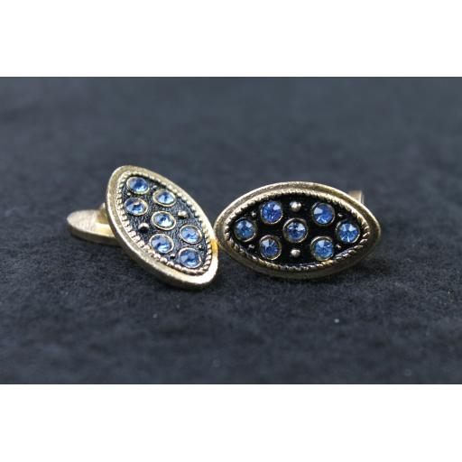 Vintage Oval Blue Diamante Inset Cufflinks
