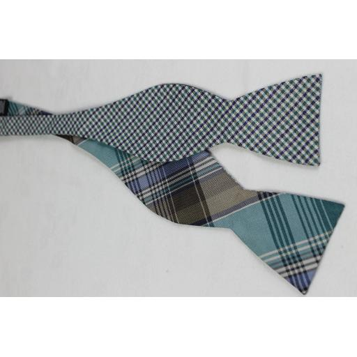 Blue / Aqua Plaid Silk & Linen Self Tie Straight End Thistle Bow Tie