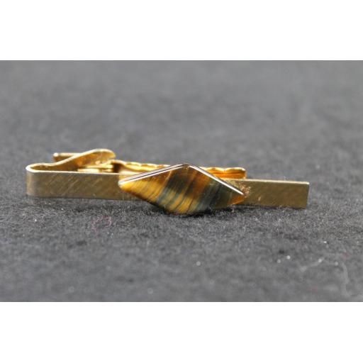Vintage Diamond Tiger's Eye Stone Tie Clip