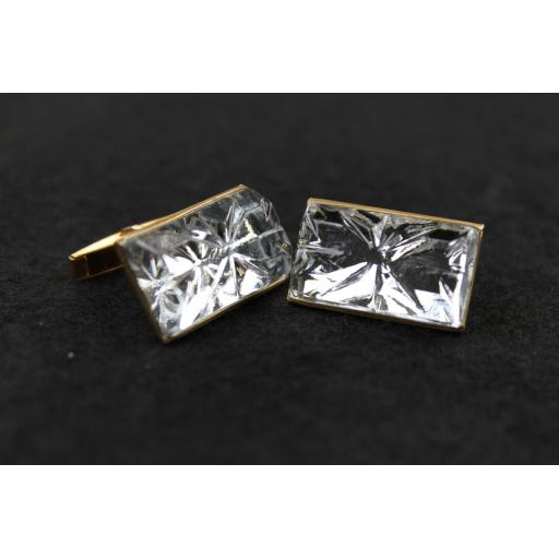 Vintage Large Clear Cut Lucite Cabochon Cufflinks