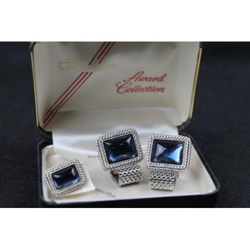 Vintage Boxed Sears Wrap Round Cufflinks & Tie Pin Set