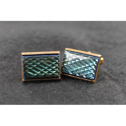 Vintage Oblong Blue Green Refractive Cufflinks