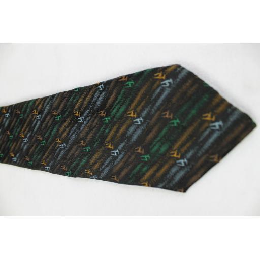 Vintage Unbranded Black Stripe & Pattern Skinny Tie 1960s