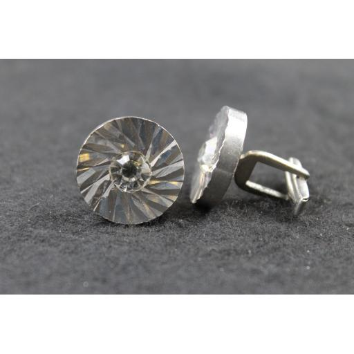 Vintage Heavy Silver Metal Diamante Centre Cufflinks