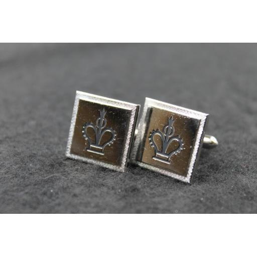 Vintage Square Silver Crown Cufflinks