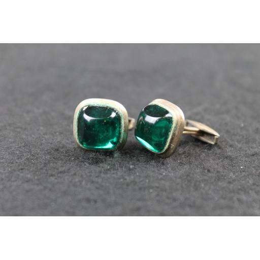Vintage Square Cufflinks Deep Green Glass Stone