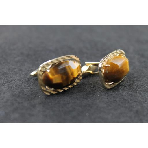 Vintage Faceted Tiger's Eye Stone Cufflinks