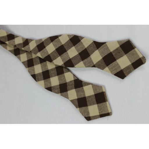 Farah Brown Cream Check Self Tie Thistle Point End Bow Tie