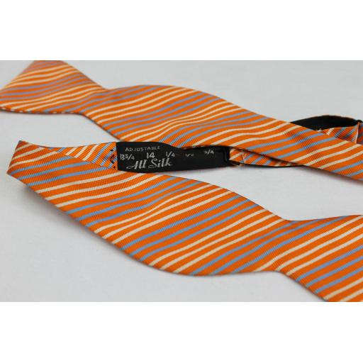 Orange Stripe Silk Self Tie Straight End Thistle Bow Tie