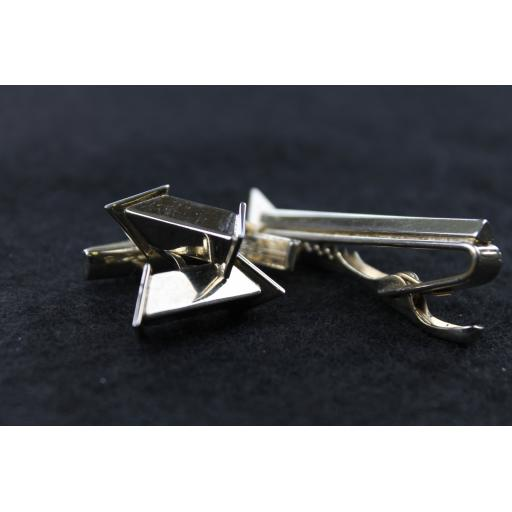 Vintage Triangular Bar Cufflinks & Tie Clip Set