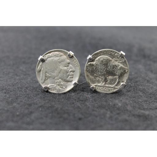 Vintage Coin Cufflinks with 1935 USA Buffalo Nickels