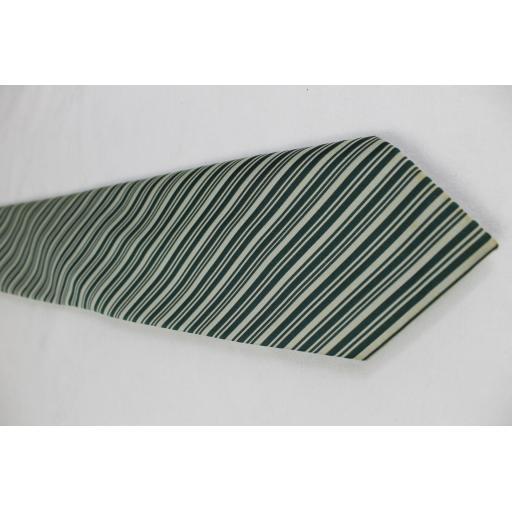 Vintage Towncraft Green & Ivory Stripe Kipper Tie 1970s