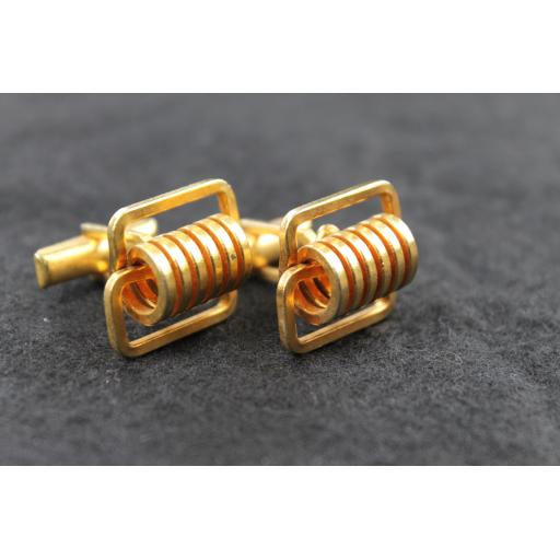 Vintage Gold Metal Springs Cufflinks